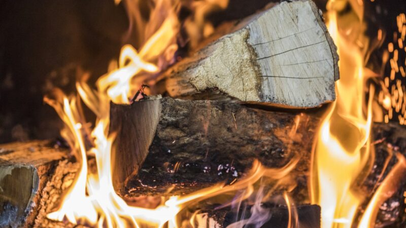 Firewood on fire